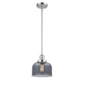 Large Bell Polished Chrome LED Mini Pendant with Smoked Glass