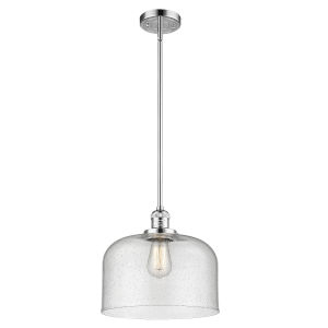 X-Large Bell Polished Chrome One-Light Hang Straight Swivel Pendant with Seedy Glass