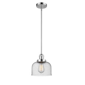 Large Bell Polished Chrome One-Light Hang Straight Swivel Mini Pendant with Seedy Glass