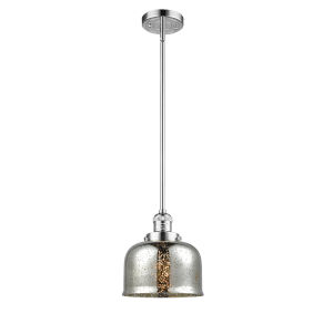 Large Bell Polished Chrome One-Light Hang Straight Swivel Mini Pendant with Silver Plated Mercury Glass