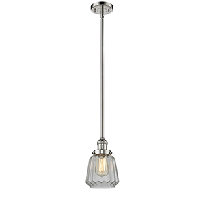 Chatham Polished Nickel Eight-Inch One-Light Mini Pendant with Clear Fluted Novelty Glass