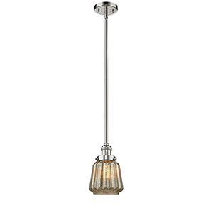 Chatham Polished Nickel Eight-Inch One-Light Mini Pendant with Mercury Fluted Novelty Glass