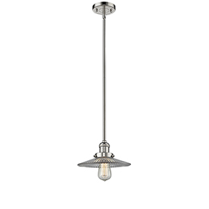 Halophane Polished Nickel Eight-Inch LED Mini Pendant with Halophane Cone Glass