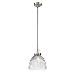 Seneca Falls Polished Nickel One-Light Mini Pendant with Halophane Dome Glass