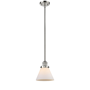 Large Cone Polished Nickel 10-Inch One-Light Mini Pendant with Matte White Cased Cone Glass