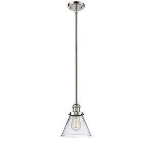 Large Cone Polished Nickel 10-Inch LED Mini Pendant with Clear Cone Glass