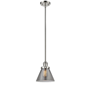 Large Cone Polished Nickel 10-Inch LED Mini Pendant with Smoked Cone Glass