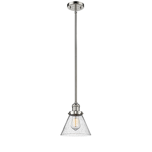 Large Cone Polished Nickel 10-Inch LED Mini Pendant with Seedy Cone Glass
