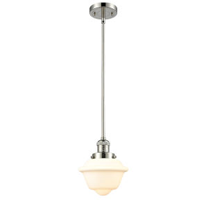 Small Oxford Polished Nickel 60W One-Light Hang Straight Swivel Mini Pendant with Matte White Cased Glass