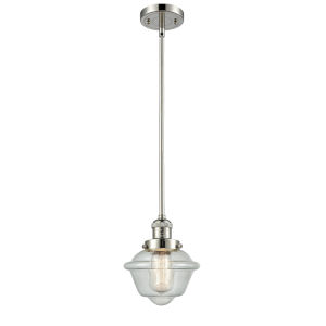 Small Oxford Polished Nickel One-Light Hang Straight Swivel Mini Pendant with Seedy Glass