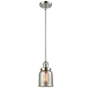 Small Bell Polished Nickel One-Light Hang Straight Swivel Mini Pendant with Silver Plated Mercury Glass