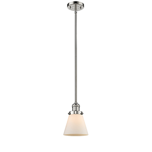 Small Cone Polished Nickel Eight-Inch LED Mini Pendant with Matte White Cased Cone Glass