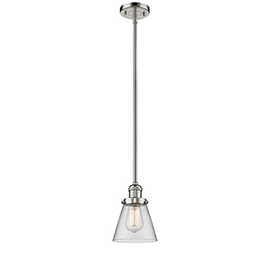 Small Cone Polished Nickel Eight-Inch LED Mini Pendant with Clear Cone Glass