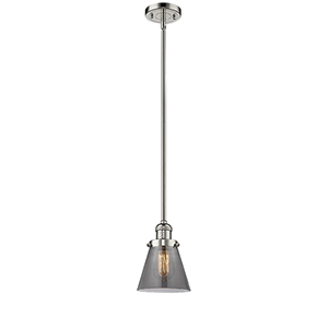 Small Cone Polished Nickel Eight-Inch LED Mini Pendant with Smoked Cone Glass