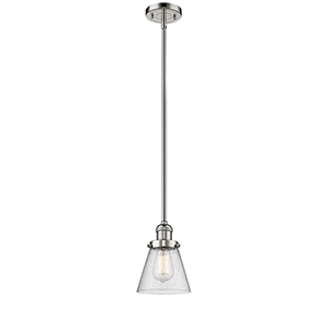 Small Cone Polished Nickel Eight-Inch LED Mini Pendant with Seedy Cone Glass