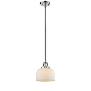 Large Bell Polished Nickel 10-Inch LED Mini Pendant with Matte White Cased Dome Glass