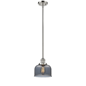 Large Bell Polished Nickel 10-Inch LED Mini Pendant with Smoked Dome Glass