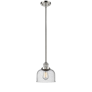 Large Bell Polished Nickel 10-Inch LED Mini Pendant with Seedy Dome Glass