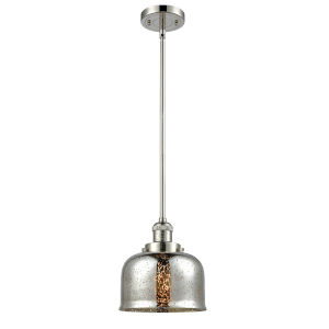 Large Bell Polished Nickel One-Light Hang Straight Swivel Mini Pendant with Silver Plated Mercury Glass