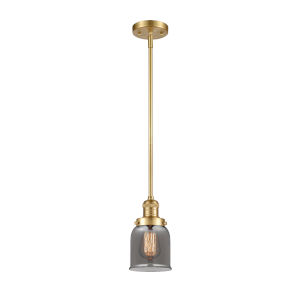 Franklin Restoration Satin Gold Five-Inch LED Mini Pendant with Plated Smoke Glass Shade