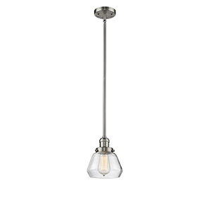 Fulton Brushed Satin Nickel Nine-Inch One-Light Mini Pendant with Clear Sphere Glass