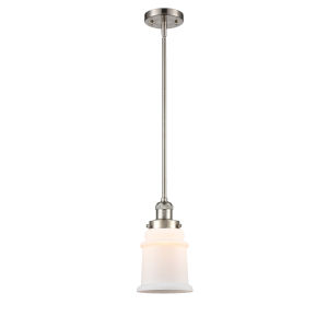 Canton Brushed Satin Nickel One-Light Hang Straight Swivel Mini Pendant with Matte White Glass