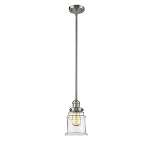 Canton Brushed Satin Nickel 10-Inch LED Mini Pendant with Clear Bell Glass
