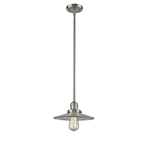 Halophane Brushed Satin Nickel Eight-Inch LED Mini Pendant with Halophane Cone Glass