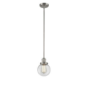 Franklin Restoration Brushed Satin Nickel Six-Inch LED Mini Pendant with Clear Glass Shade