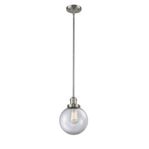 Franklin Restoration Brushed Satin Nickel Eight-Inch LED Mini Pendant with Clear Glass Shade