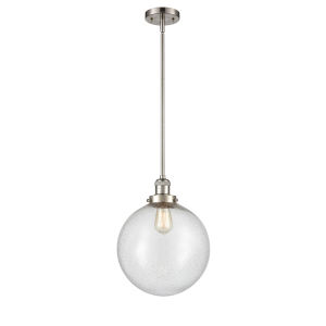 Franklin Restoration Brushed Satin Nickel 12-Inch LED Pendant with Seedy Beacon Shade