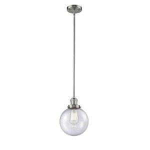 Franklin Restoration Brushed Satin Nickel Eight-Inch One-Light Mini Pendant with Seedy Glass Shade