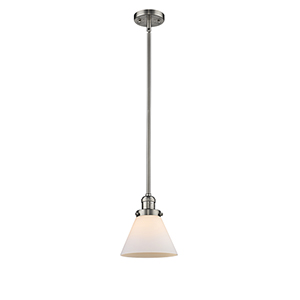Large Cone Brushed Satin Nickel 10-Inch One-Light Mini Pendant with Matte White Cased Cone Glass