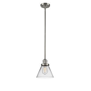 Large Cone Brushed Satin Nickel 10-Inch One-Light Mini Pendant with Clear Cone Glass