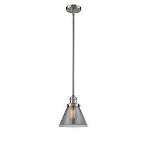 Large Cone Brushed Satin Nickel 10-Inch One-Light Mini Pendant with Smoked Cone Glass