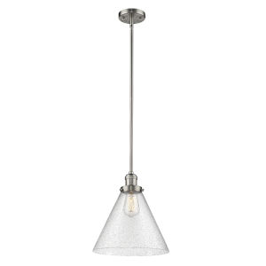 X-Large Cone Brushed Satin Nickel LED Hang Straight Swivel Pendant with Seedy Glass