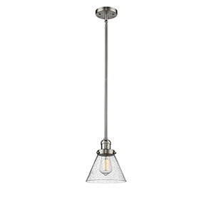 Large Cone Brushed Satin Nickel 10-Inch One-Light Mini Pendant with Seedy Cone Glass
