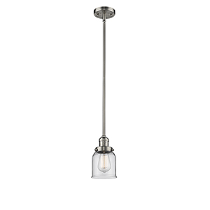 Small Bell Brushed Satin Nickel 10-Inch One-Light Mini Pendant with Clear Bell Glass