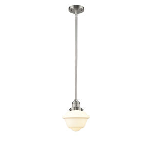 Small Oxford Brushed Satin Nickel 60W One-Light Hang Straight Swivel Mini Pendant with Matte White Cased Glass