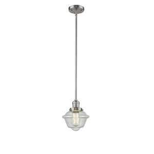 Small Oxford Brushed Satin Nickel One-Light Hang Straight Swivel Mini Pendant with Seedy Glass