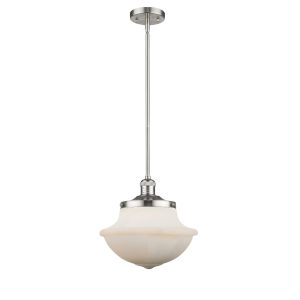 Franklin Restoration Brushed Satin Nickel 12-Inch One-Light Pendant with Matte White Cased Large Oxford Shade