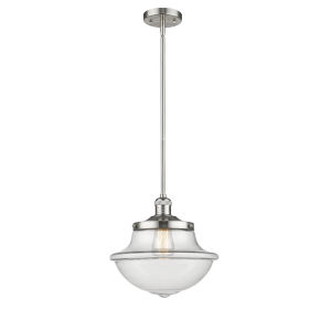 Franklin Restoration Brushed Satin Nickel 12-Inch One-Light Pendant with Clear Large Oxford Shade