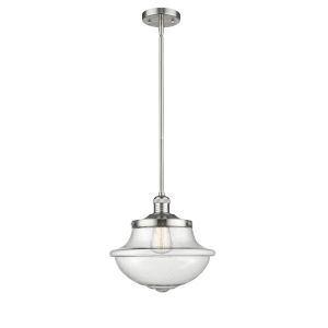 Franklin Restoration Brushed Satin Nickel 12-Inch One-Light Pendant with Seedy Large Oxford Shade