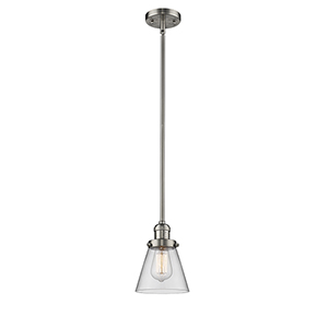 Small Cone Brushed Satin Nickel Eight-Inch One-Light Mini Pendant with Clear Cone Glass