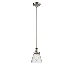 Small Cone Brushed Satin Nickel Eight-Inch LED Mini Pendant with Seedy Cone Glass