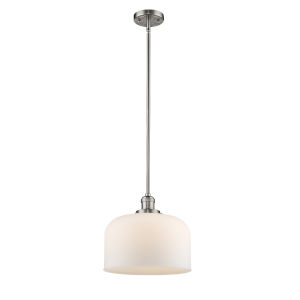 X-Large Bell Brushed Satin Nickel 60W One-Light Hang Straight Swivel Pendant with Matte White Cased Glass