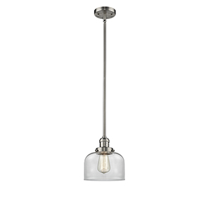 Large Bell Brushed Satin Nickel 10-Inch One-Light Mini Pendant with Clear Dome Glass