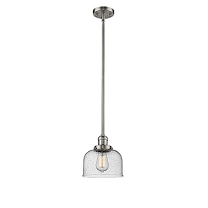 Large Bell Brushed Satin Nickel 10-Inch One-Light Mini Pendant with Seedy Dome Glass