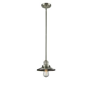 Railroad Brushed Satin Nickel Eight-Inch LED Mini Pendant