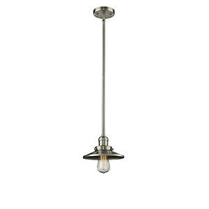 Railroad Brushed Satin Nickel Eight-Inch One-Light Mini Pendant